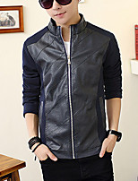 Men's Long Sleeve Casual / Plus Size Jacket,PU / Polyester Patchwork Black / Blue / Brown