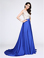 TS Couture® Formal Evening Dress A-line Scoop Sweep / Brush Train Tulle / Stretch Satin with Appliques / Buttons