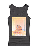 Men's Print Casual Tank TopsCotton Sleeveless-Blue / White / Gray
