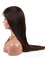 Natural Color Glueless Silk Straight Brazilian Virgin Human Hair Full Lace Wigs with Baby Hair for Black Women