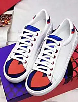 Women's Sneakers Fall Comfort / Round Toe Nappa Leather Casual Flat Heel Lace-up White Others