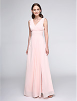 Floor-length Chiffon Bridesmaid Dress - Elegant Sheath / Column V-neck with Criss Cross / Ruching