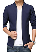 Men's Fashion Slim Knit Jacket,Cotton / Polyester Solid Black / Blue