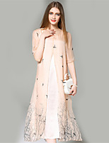 ANGEL  Women's Going out Street chic A Line Dress,Print Round Neck Midi ½ Length Sleeve Pink Silk Summer