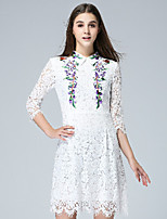KLIMEDA  Women's Casual/Daily Cute A Line Dress,Embroidered Shirt Collar Above Knee ¾ Sleeve White Polyester Fall