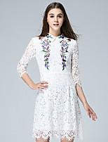 klimeda Frauen Casual / Tages nett eine Linie Kleid, bestickt Hemdkragen über dem Knie ¾ Ärmel weißen Polyester Herbst