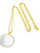 OUJIN Magnifier Glass Ornaments Metal Chain Necklace Gift 6 Fold Magnification Old Reading Glasses