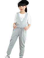 Girl's Cotton Spring/Autumn Fashion Print Solid Color V-neck Overalls Pants Casual/Daily Clothes