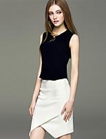 Mara Carol® Women's Round Neck Sleeveless Vest & Waistcoat Yellow / Dark Blue-1619233