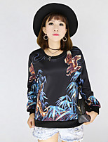 Women's Casual/Daily Vintage Regular Hoodies,Print Black Round Neck Long Sleeve Polyester Fall Medium