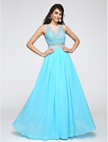 TS Couture® Formal Evening Dress Sheath / Column Jewel Floor-length Chiffon with Appliques / Beading