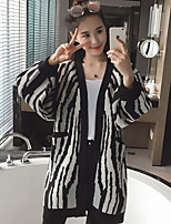 Women's Going out / Casual/Daily Simple Long Cardigan,Animal Print Black V Neck Long Sleeve Acrylic Fall Medium / Thick