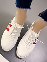 Women's Sneakers Fall Comfort / Round Toe PU Casual Flat Heel Lace-up Black / White Others
