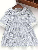 Girl's Casual/Daily Print Dress,Cotton Spring / Fall Blue
