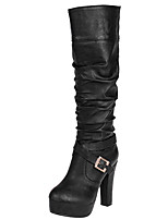 Women's Boots Fall / Winter Fashion Boots / Round Toe Party & Evening / Dress / Casual Chunky Heel Buckle / Ruffles