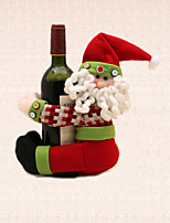 1pc Christmas Stripe Santa Claus Wine Bottle Towel Holder Table Decoration Home Dinner Party Supplies