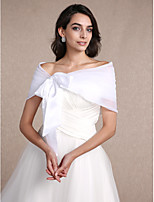 Women's Wrap Shrugs Sleeveless Organza White Wedding / Party/Evening Bateau 30cm Draped Lace-up