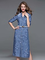 Boutique S Going out / Casual/Daily / Holiday Sexy  / Cute Loose Dress,Floral V Neck Midi ½ Length Sleeve Blue Cotton