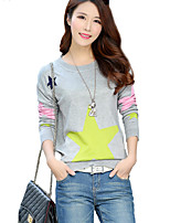 Women's Casual/Daily Street chic Regular Pullover,Print Blue / Pink / Red / Gray / Green Round Neck Long Sleeve AcrylicSpring / Fall /