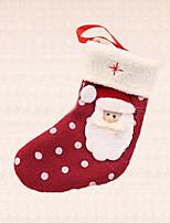 1pc del lunar calcetín de Papá Noel colgante del árbol de navidad de regalo suministros de hogar al aire libre del partido