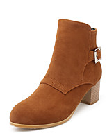 Women's Shoes Fleece Fall / Round Toe Boots Office & Career / Casual Chunky Heel Buckle / Zipper Black / Yellow / Beige