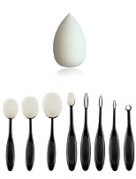 10 PCS Oval Makeup Brushes Set Synthetic Hair Professional / Full Coverage Plastic Face / Eye / Lip   And Makeup Puff