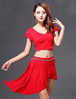 Belly Dance Outfits Women's Performance Cotton Draped 3 Pcs Black / Fuchsia / Light Purple / Orange / Red  Top / Skirt
