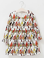 Girl's Cotton Spring/Autumn Cute Print Animal Long Sleeve Princess dress