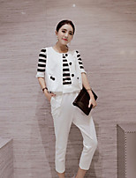 Boutique S Women's Casual/Daily Street chic Spring / Fall Set Pant,Striped Round Neck ½ Length Sleeve White Cotton Thin