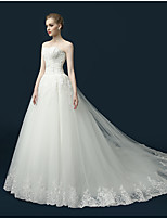 A-line Wedding Dress Sweep / Brush Train Sweetheart Tulle with Appliques / Ruffle