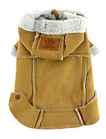 Dog Coat Brown / Yellow Winter / Spring/Fall Solid Windproof / Keep Warm, Dog Clothes / Dog Clothing