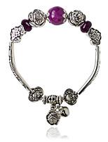 Charm Bracelets 1pc,Black / White Bracelet Bohemia Style Circle 514 Alloy / Zircon Jewellery