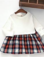 Vestido Chica de-Casual/Diario-Escocés-Algodón-Primavera / Otoño-Azul / Blanco