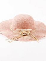 OUFULGA  High-grade Flowers Flax Hat Sunscreen Sun Hat Bbeach   Cap