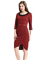 Women's Plus Size / Casual/Daily / Work Street chic Sheath Dress,Solid Round Neck Asymmetrical ¾ Sleeve
