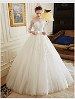 Ball Gown Wedding Dress Sweep / Brush Train Scoop Tulle with Appliques / Sash / Ribbon