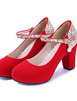 Women's Heels Spring / Summer / Fall Heels Leatherette Wedding / Casual Chunky Heel Sequin / Buckle Black / Red Others