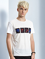 Print-Informeel-Heren-Katoen-T-shirt-Korte mouw Wit