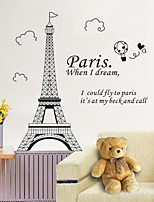 Paris Eiffel Tower Architecture Wall Stickers PVC Removable Living Room Wall Decals