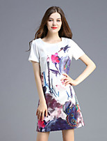 Boutique S Women's Casual/Daily Cute Shift Dress,Floral Round Neck Above Knee Short Sleeve White Polyester Summer