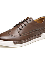 British Style Men's Retro Genuine Leather Flat Shoes Breathable Upper for Walking