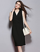 Sybel Women's Going out /Simple / Street chic Sheath Dress,Solid V Neck Knee-length Sleeveless Black Polyester