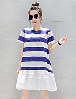 Women's Casual/Daily Simple Loose Dress,Striped Round Neck Above Knee Short Sleeve Blue Cotton Summer Stretchy Opaque