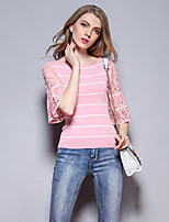 Sybel Women's Going out /  Cute Short Pullover,Striped Pink Round Neck ½ Length Sleeve Cotton /