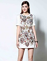 Boutique S Women's Going out Sophisticated Dress,Floral Round Neck Above Knee Short Sleeve White Polyester