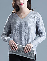 Women's Casual/Daily Street chic Short Pullover,Solid Blue / Gray V Neck Long Sleeve Acrylic Fall Medium