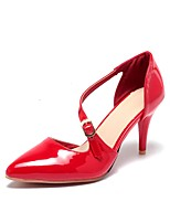 Women's Sandals Summer Comfort / Pointed Toe Wedding / Outdoor / Dress Cone Heel Buckle / Split JointBlack / Red