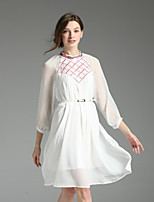 Boutique S Women's Casual/Daily Sexy Loose Dress,Color Block Crew Neck Knee-length ¾ Sleeve White / Black Polyester Fall
