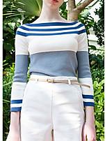 Damen Standard Pullover-Ausgehen / Lässig/Alltäglich Einfach / Niedlich Gestreift Blau Bateau Langarm Baumwolle Frühling / Herbst Mittel
