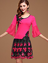Latin Dance Outfits Women's Performance Cotton / Milk Fiber Embroidery 2 Pcs Fuchsia / Red 3/4 Length Sleeve Top / Pant